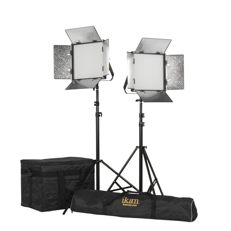 RAYDEN 1 X 1 BI-COLOR 2-POINT PANEL LED LIGHT KIT W/ GOLD & V-MOUNT BATTERY PLATE